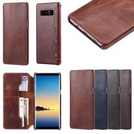 Mobilplånbok Slim äkta läder Samsung Galaxy Note 8 SM-N950F mobilskal skinn fodral