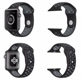 Apple Watch 42mm Sport Armband Silikon Svart-Grå Series 1 2 och nike+ CaseOnline.se
