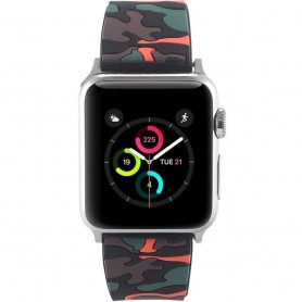 Apple Watch 38mm Camo Silikon Armband - Svart/Orange tillbehör rem klocka