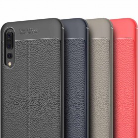Läder mönstrat TPU skal Huawei P20 Pro mobilskal silikon skydd