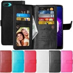 Dubbelflip Flexi 9-kort Huawei Honor 10 mobilplånbok fodral mobilskal