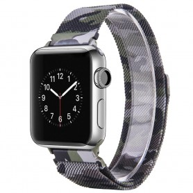 Apple Watch 38mm Serie 1,2,3 Armband Milanese Camo - Grön