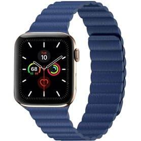 Apple Watch 5 (44mm) Læder loop rem - Tahoe Blue