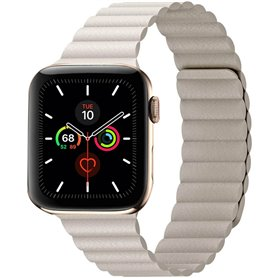 Apple Watch 5 (44mm) Læder loop rem - Stone